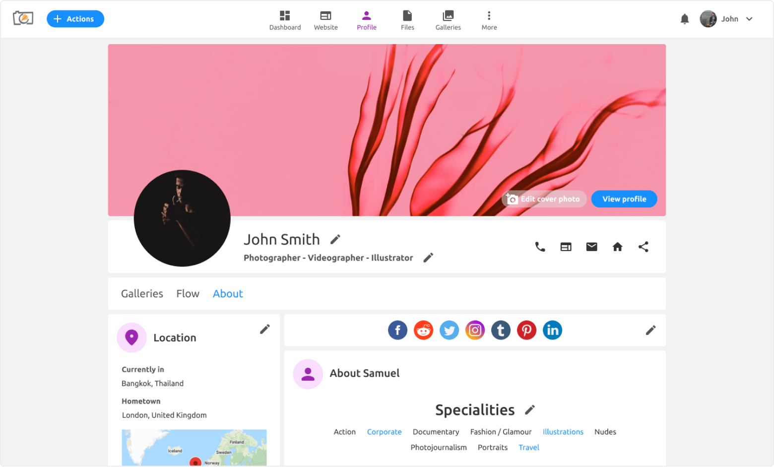 Shareable profile page